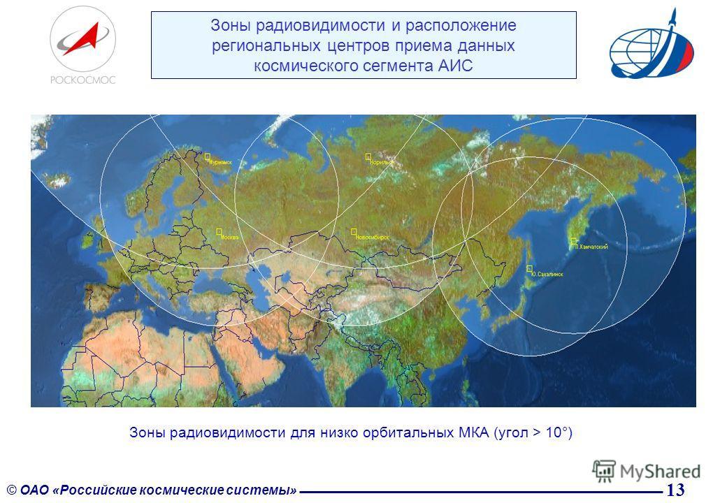 13 © ОАО «Российские космические системы» Зоны радиовидимости и расположение региональных центров приема данных космического сегмента АИС Зоны радиовидимости для низко орбитальных МКА (угол > 10°)