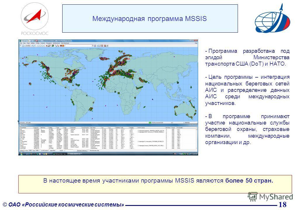 18 © ОАО «Российские космические системы» Международная программа MSSIS В настоящее время участниками программы MSSIS являются более 50 стран. - Программа разработана под эгидой Министерства транспорта США (DoT) и НАТО. - Цель программы – интеграция