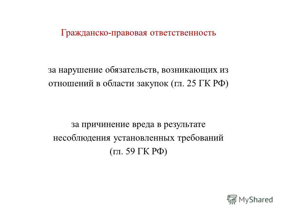 Гражданско-правовая ответственность за нарушение обязательств, возникающих из отношений в области закупок (гл. 25 ГК РФ) за причинение вреда в результате несоблюдения установленных требований (гл. 59 ГК РФ)