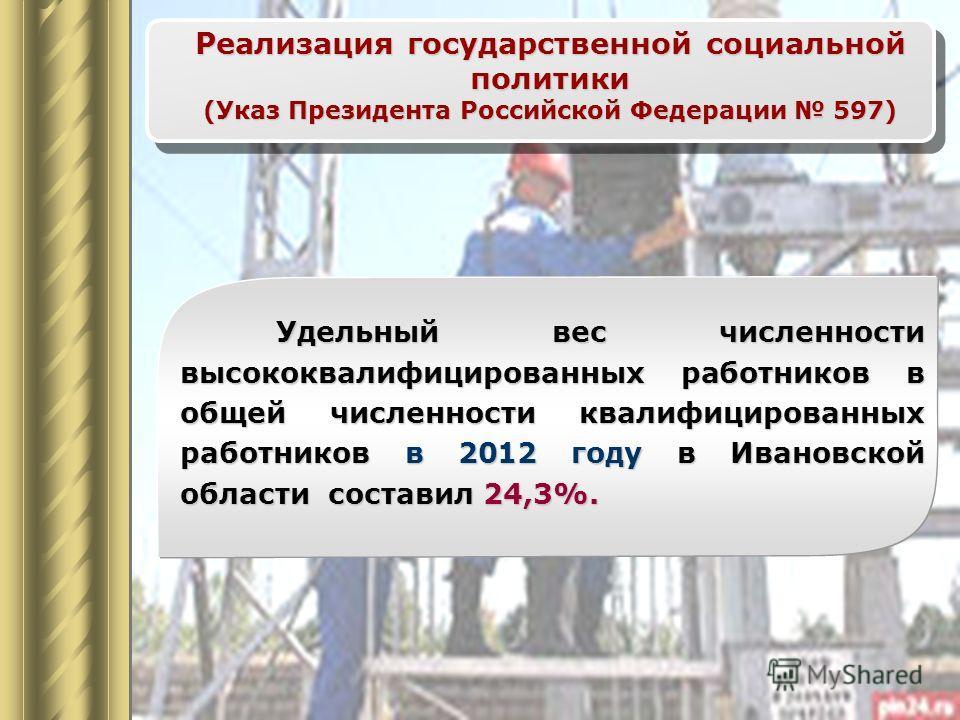Реализация государственной социальной политики (Указ Президента Российской Федерации 597) Удельный вес численности высококвалифицированных работников в общей численности квалифицированных работников в 2012 году в Ивановской области составил 24,3%.