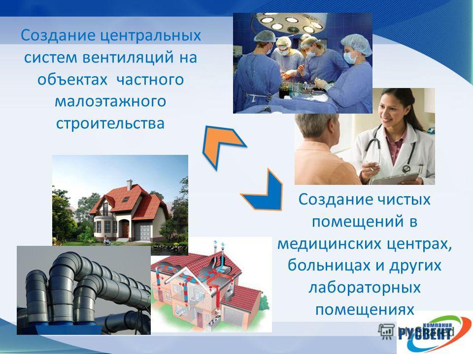 Создание чистых помещений в медицинских центрах, больницах и других лабораторных помещениях Создание центральных систем вентиляций на объектах частного малоэтажного строительства