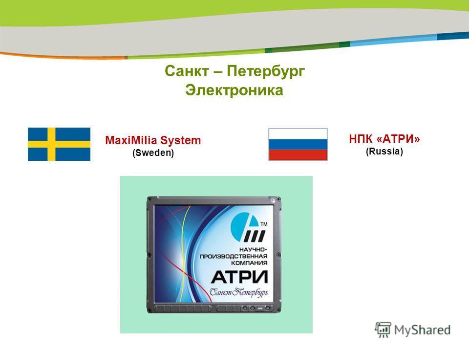 Санкт – Петербург Электроника НПК «АТРИ» (Russia) MaxiMilia System (Sweden)