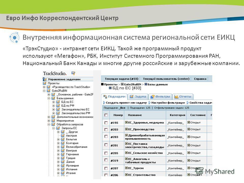 Внутренняя информационная система региональной сети ЕИКЦ «Трэк Студио» - интранет сети ЕИКЦ. Такой же программный продукт используют «Мегафон», РБК, Институт Системного Программирования РАН, Национальный Банк Канады и многие другие российские и заруб