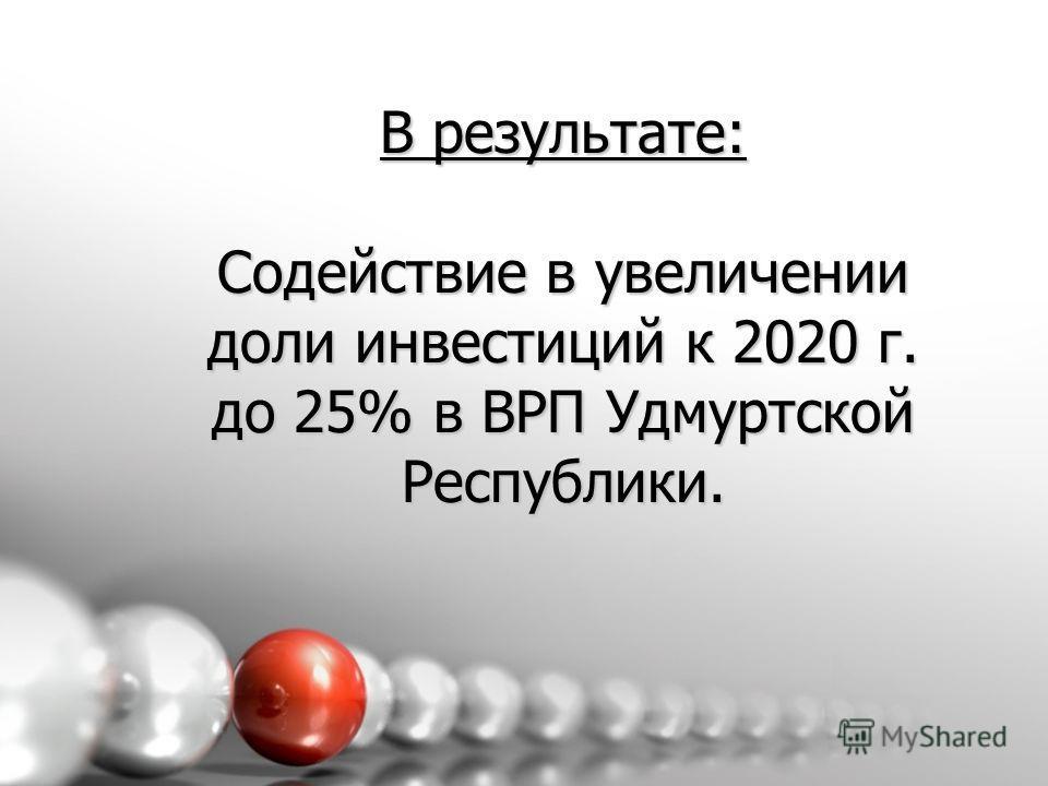 В результате: Содействие в увеличении доли инвестиций к 2020 г. до 25% в ВРП Удмуртской Республики.