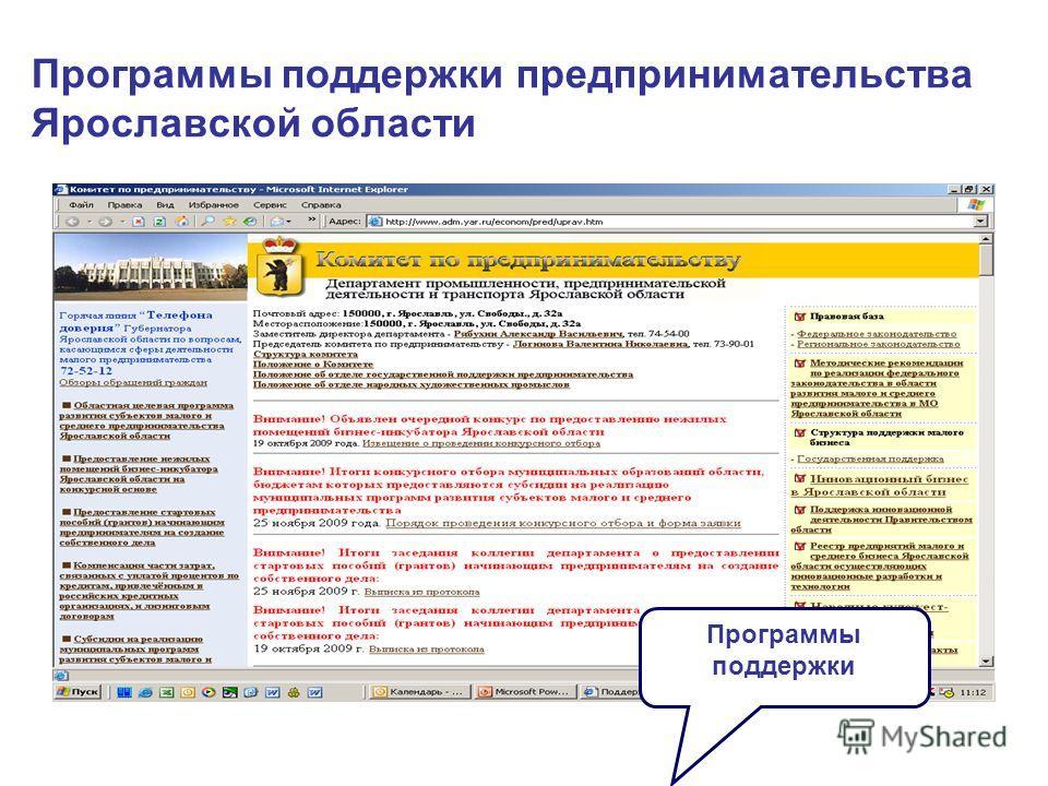 Программы поддержки предпринимательства Ярославской области Программы поддержки
