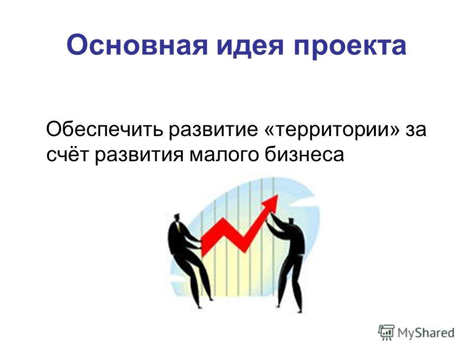 Основная идея проекта Обеспечить развитие «территории» за счёт развития малого бизнеса