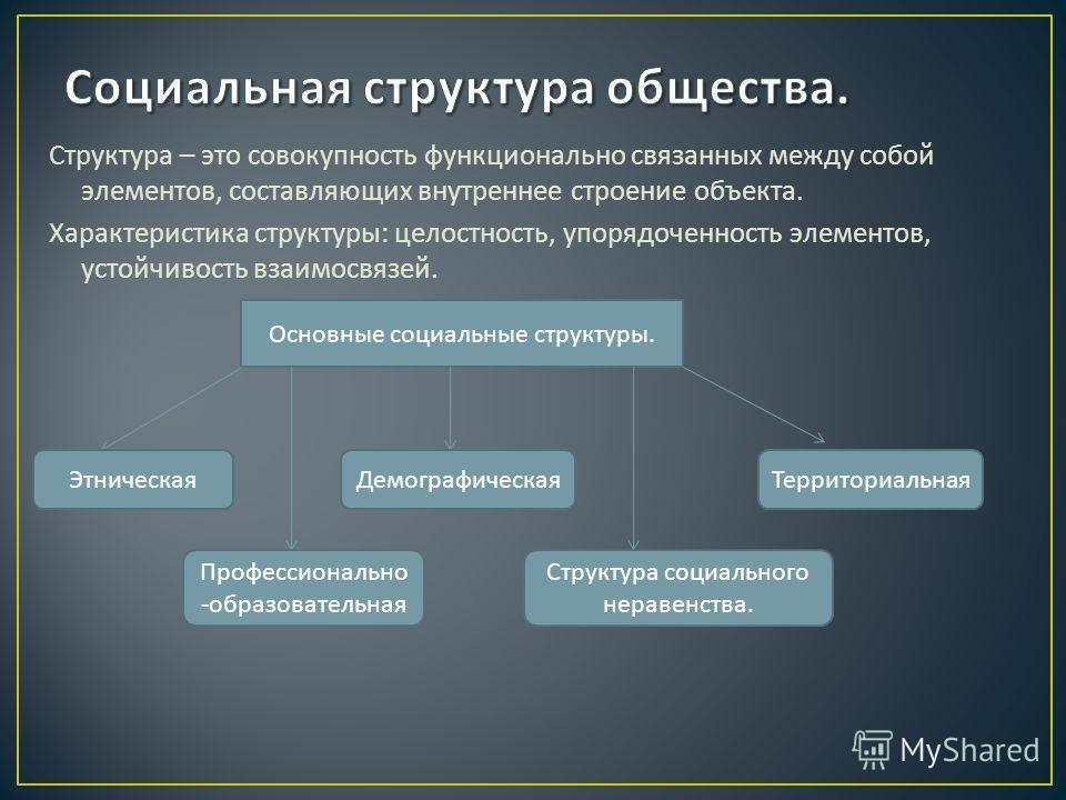 Структура – это совокупность функционально связанных между собой элементов, составляющих внутреннее строение объекта. Характеристика структуры : целостность, упорядоченность элементов, устойчивость взаимосвязей. Основные социальные структуры. Этничес