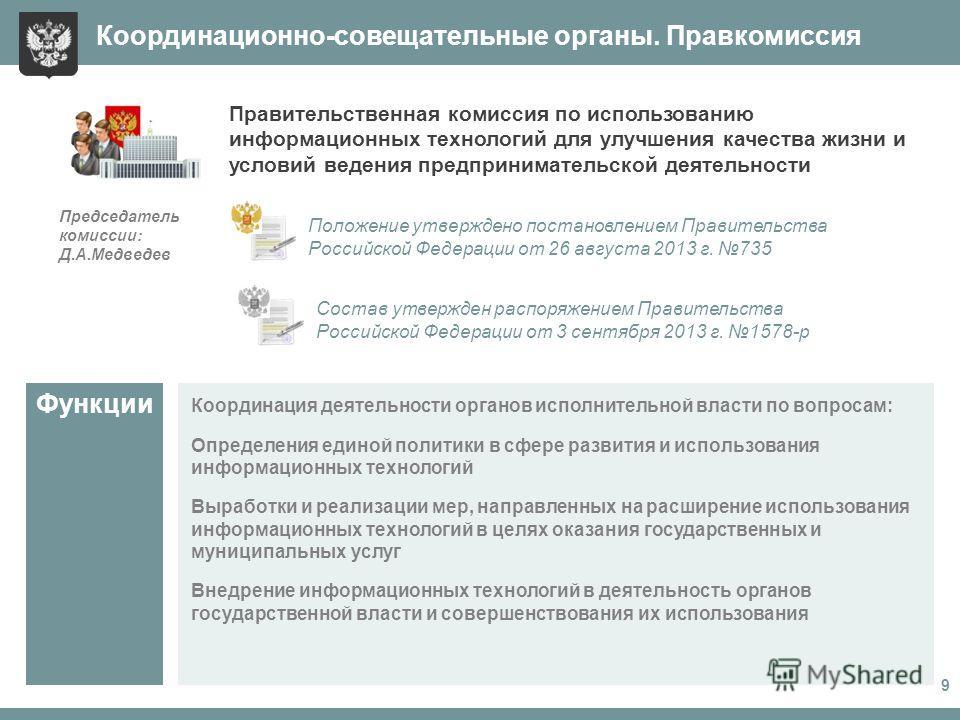 Координация деятельности органов исполнительной власти по вопросам: Определения единой политики в сфере развития и использования информационных технологий Выработки и реализации мер, направленных на расширение использования информационных технологий