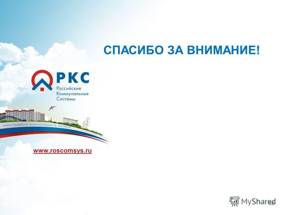 10 www.roscomsys.ru СПАСИБО ЗА ВНИМАНИЕ!