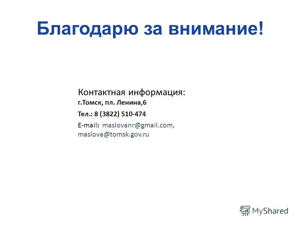 Благодарю за внимание! Контактная информация: г.Томск, пл. Ленина,6 Тел.: 8 (3822) 510-474 E-mail: maslovanr@gmail.com, maslova@tomsk.gov.ru
