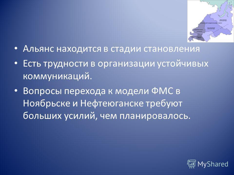 Альянс находится в стадии становления Есть трудности в организации устойчивых коммуникаций. Вопросы перехода к модели ФМС в Ноябрьске и Нефтеюганске требуют больших усилий, чем планировалось.