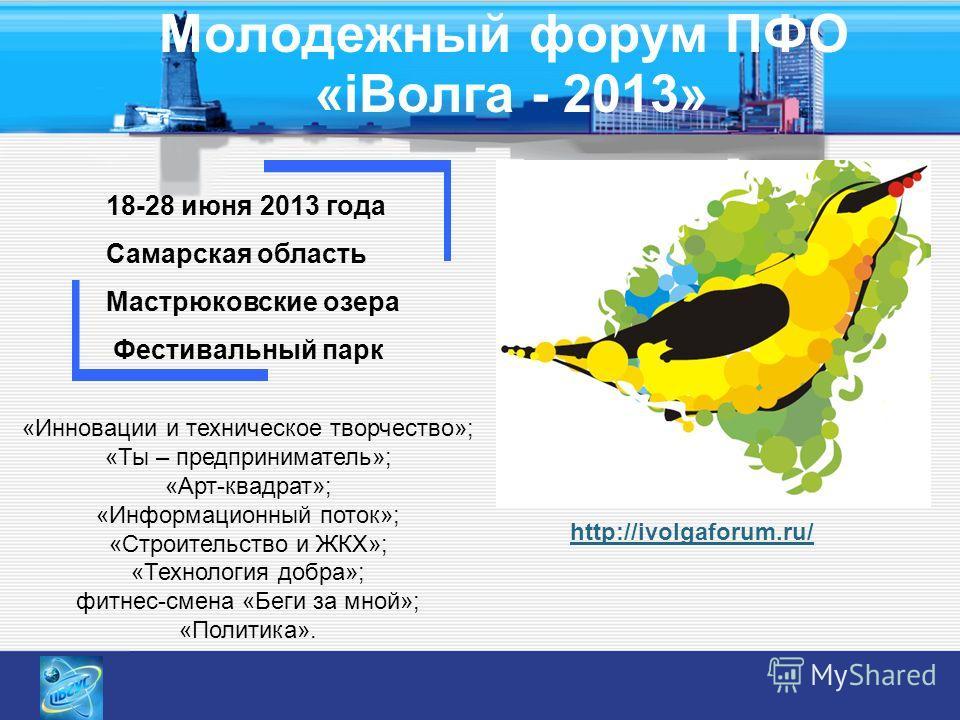 Молодежный форум ПФО «i Волга - 2013» 18-28 июня 2013 года Самарская область Мастрюковские озера Фестивальный парк «Инновации и техническое творчество»; «Ты – предприниматель»; «Арт-квадрат»; «Информационный поток»; «Строительство и ЖКХ»; «Технология