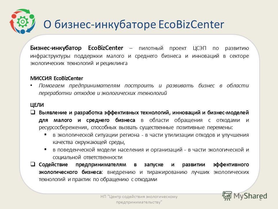 О бизнес-инкубаторе EcoBizCenter Бизнес-инкубатор EcoBizCenter – пилотный проект ЦСЭП по развитию инфраструктуры поддержки малого и среднего бизнеса и инноваций в секторе экологических технологий и рециклинга МИССИЯ EcoBizCenter Помогаем предпринимат
