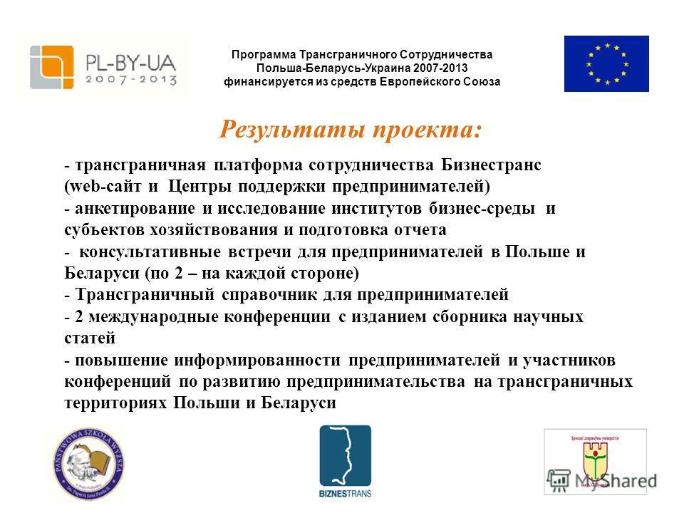 Программа Трансграничного Сотрудничества Польша-Беларусь-Украина 2007-2013 финансируется из средств Европейского Союза Результаты проекта: - трансграничная платформа сотрудничества Бизнестранс (web-сайт и Центры поддержки предпринимателей) - анкетиро