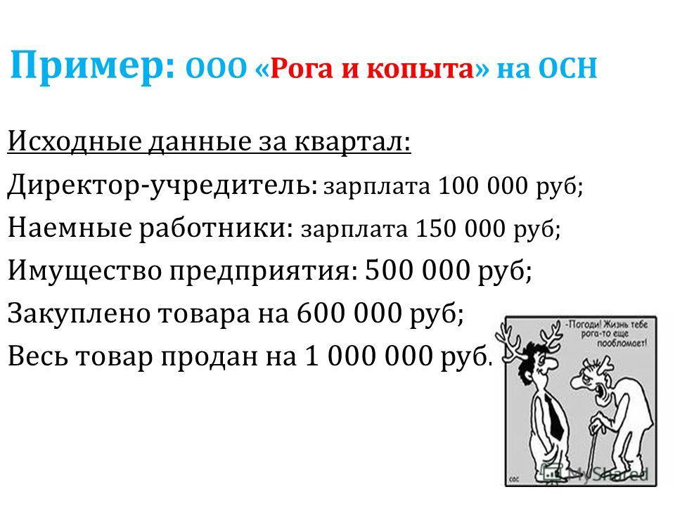 Пример: ООО «Рога и копыта» на ОСН Исходные данные за квартал: Директор-учредитель: зарплата 100 000 руб; Наемные работники: зарплата 150 000 руб; Имущество предприятия: 500 000 руб; Закуплено товара на 600 000 руб; Весь товар продан на 1 000 000 руб
