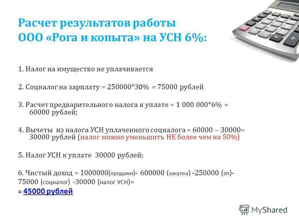 Расчет результатов работы ООО «Рога и копыта» на УСН 6%: 1. Налог на имущество не уплачивается 2. Соцналог на зарплату = 250000*3 0 % = 75000 рублей 3. Расчет предварительного налога к уплате = 1 000 000*6% = 60000 рублей; 4. Вычеты из налога УСН упл