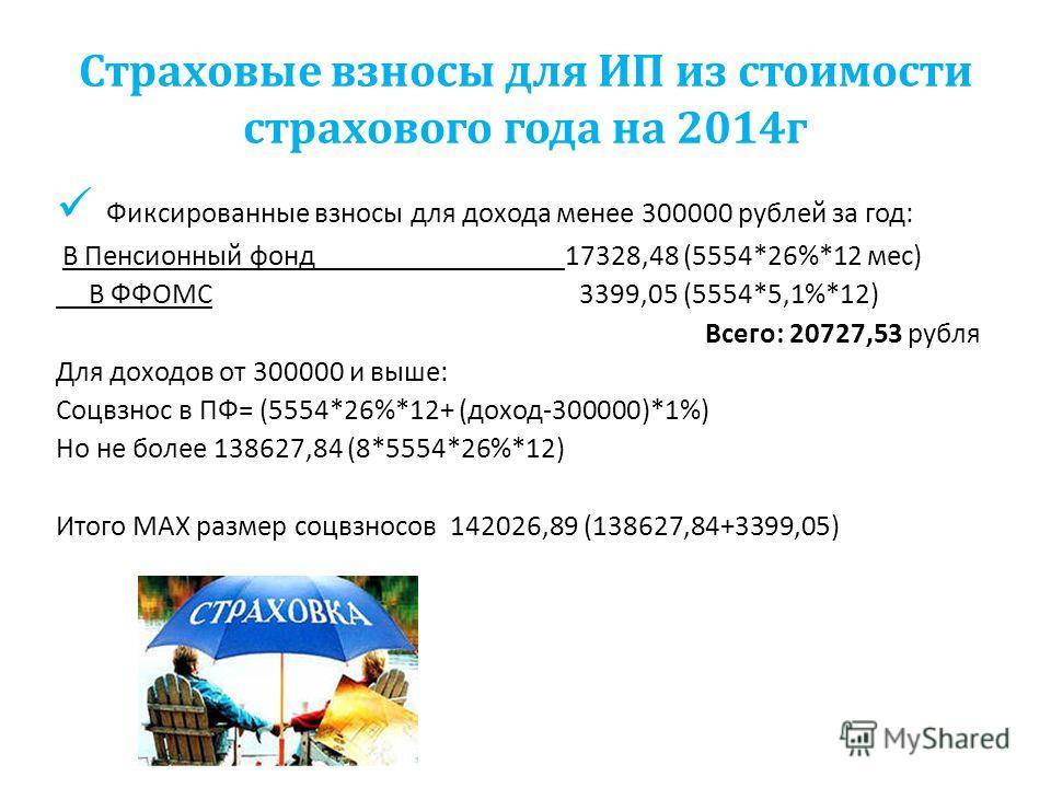 Страховые взносы для ИП из стоимости страхового года на 2014 г Фиксированные взносы для дохода менее 300000 рублей за год: В Пенсионный фонд 17328,48 (5554*26%*12 мес) В ФФОМС 3399,05 (5554*5,1%*12) Всего: 20727,53 рубля Для доходов от 300000 и выше: