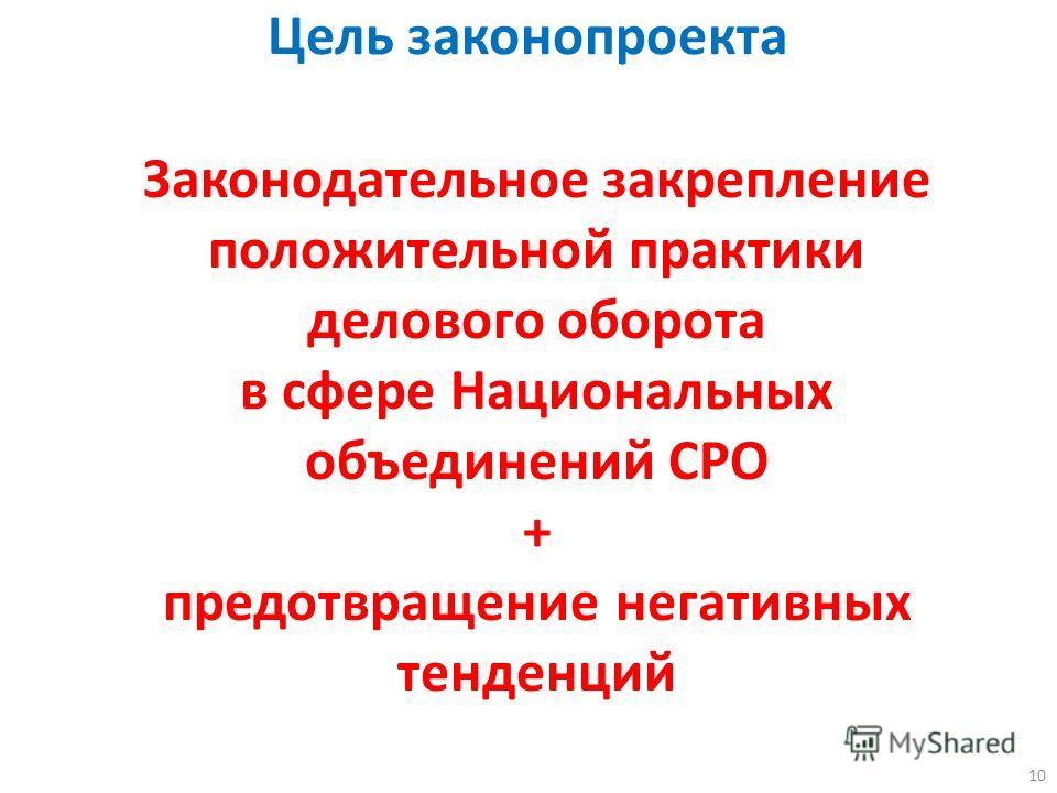 10 Цель законопроекта Законодательное закрепление положительной практики делового оборота в сфере Национальных объединений СРО + предотвращение негативных тенденций