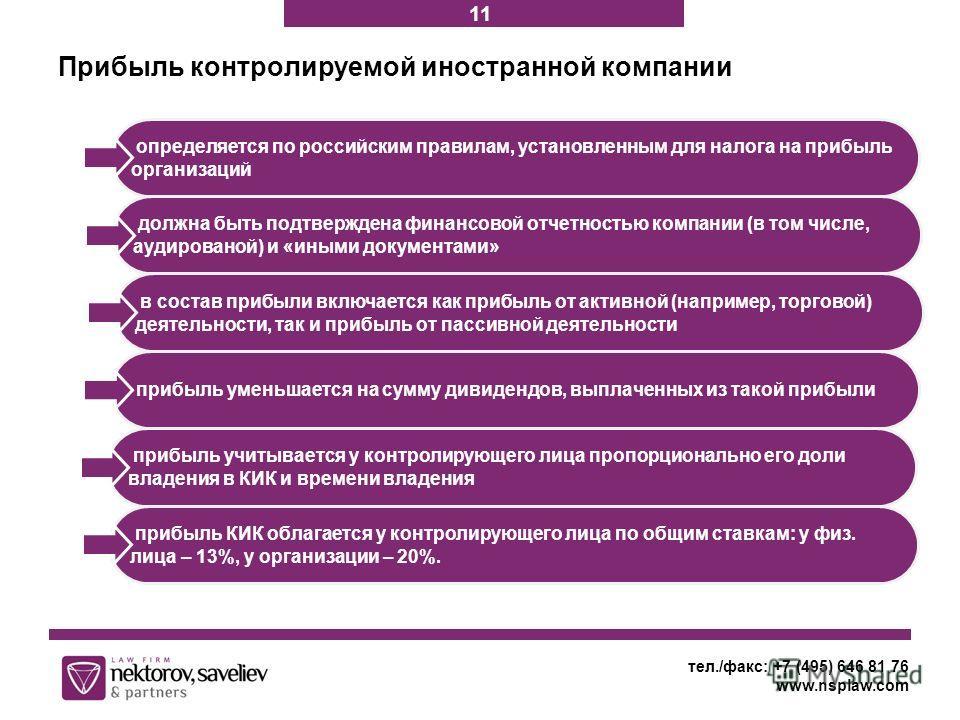 Прибыль контролируемой иностранной компании тел./факс: +7 (495) 646 81 76 www.nsplaw.com определяется по российским правилам, установленным для налога на прибыль организаций должна быть подтверждена финансовой отчетностью компании (в том числе, аудир