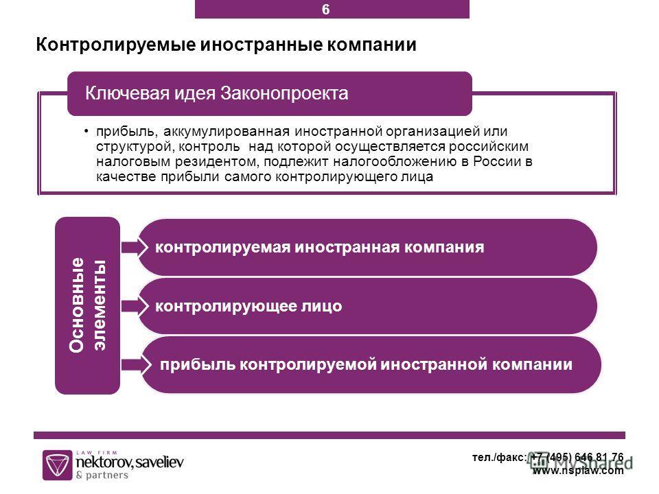 Контролируемые иностранные компании тел./факс: +7 (495) 646 81 76 www.nsplaw.com прибыль, аккумулированная иностранной организацией или структурой, контроль над которой осуществляется российским налоговым резидентом, подлежит налогообложению в России