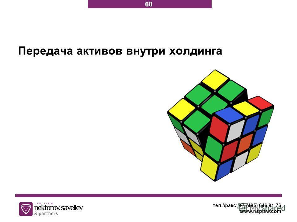 тел./факс: +7 (495) 646 81 76 www.nsplaw.com Передача активов внутри холдинга 68