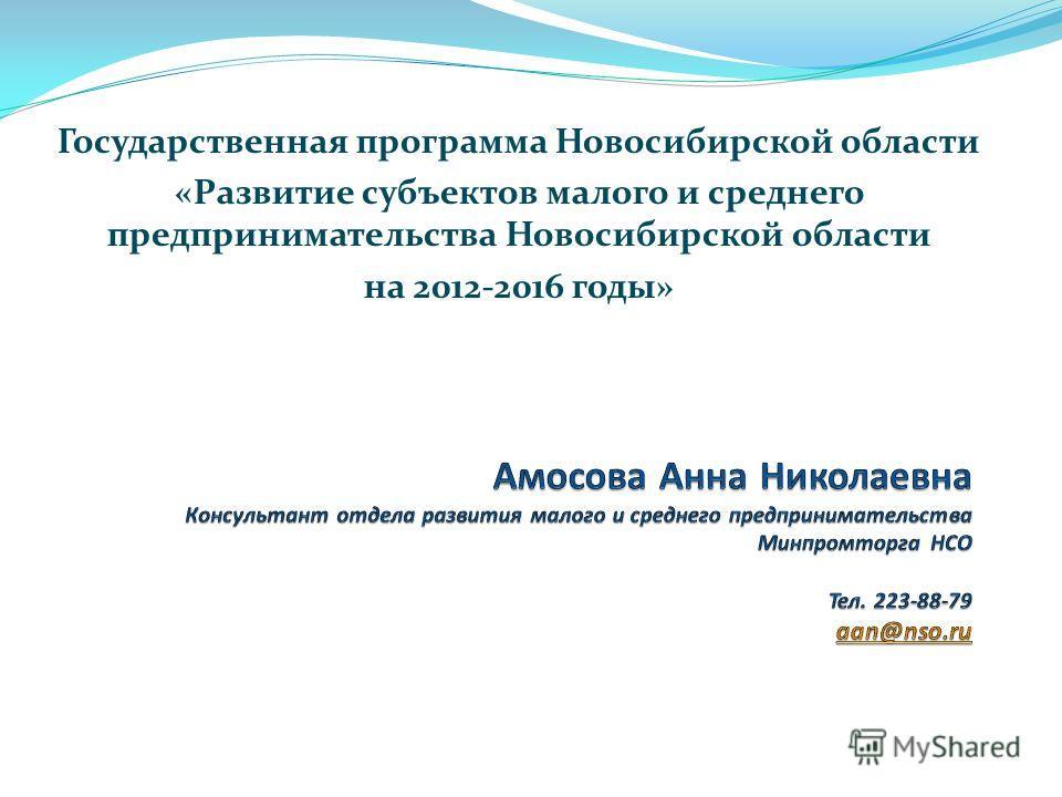 Государственная программа Новосибирской области «Развитие субъектов малого и среднего предпринимательства Новосибирской области на 2012-2016 годы»