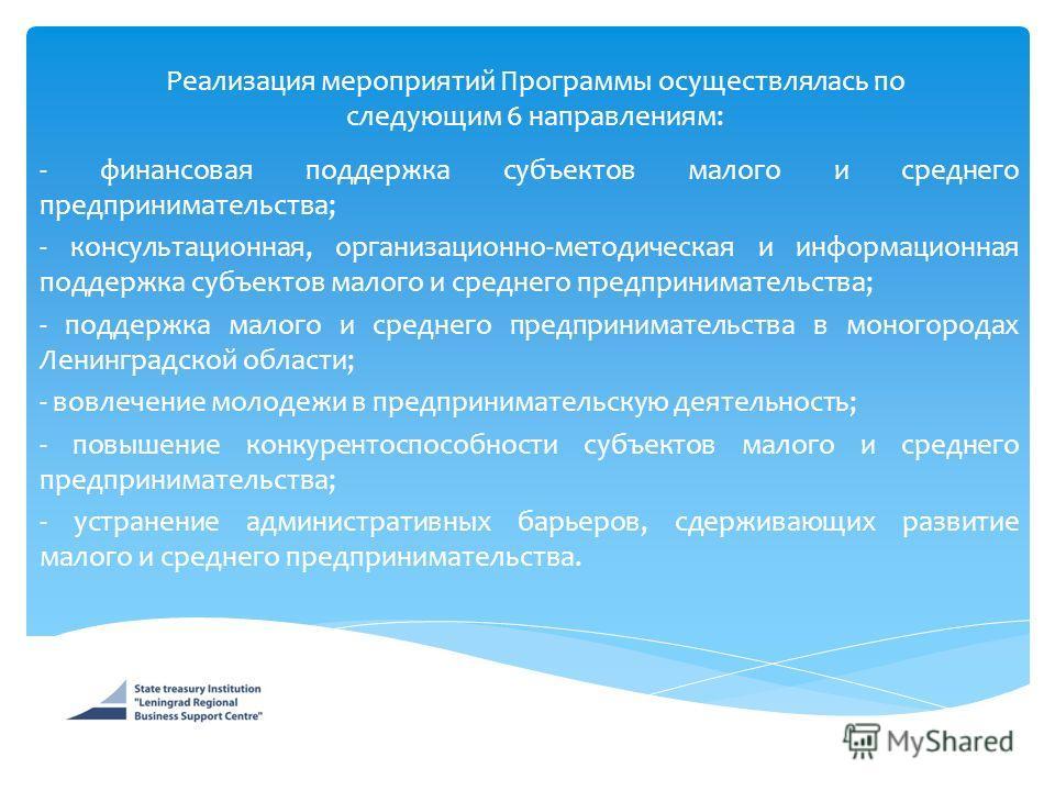 Реализация мероприятий Программы осуществлялась по следующим 6 направлениям: - финансовая поддержка субъектов малого и среднего предпринимательства; - консультационная, организационно-методическая и информационная поддержка субъектов малого и среднег
