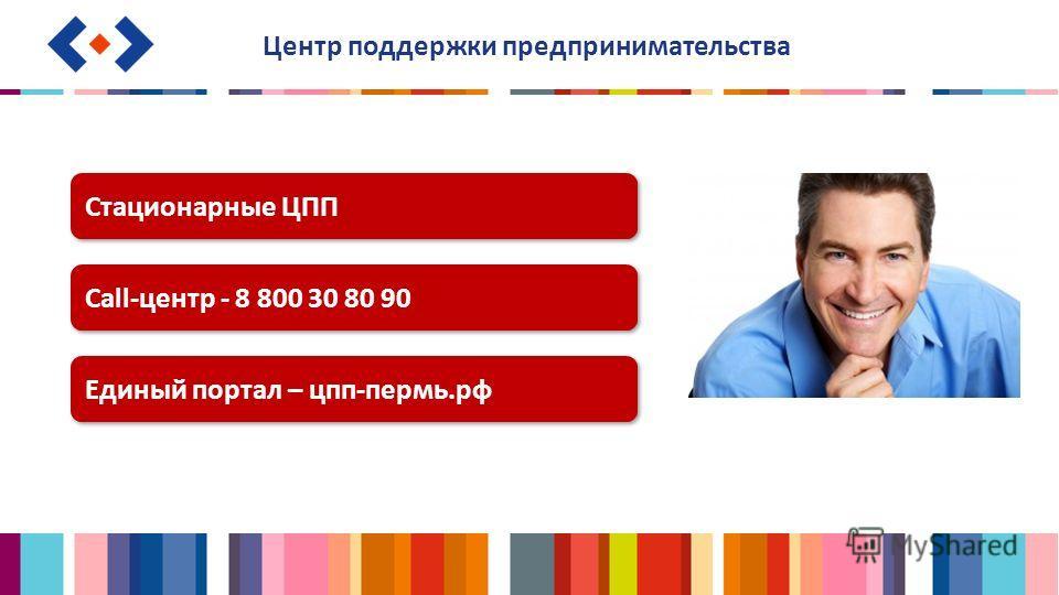Центр поддержки предпринимательства Стационарные ЦПП Call-центр - 8 800 30 80 90 Единый портал – цпп-пермь.рф