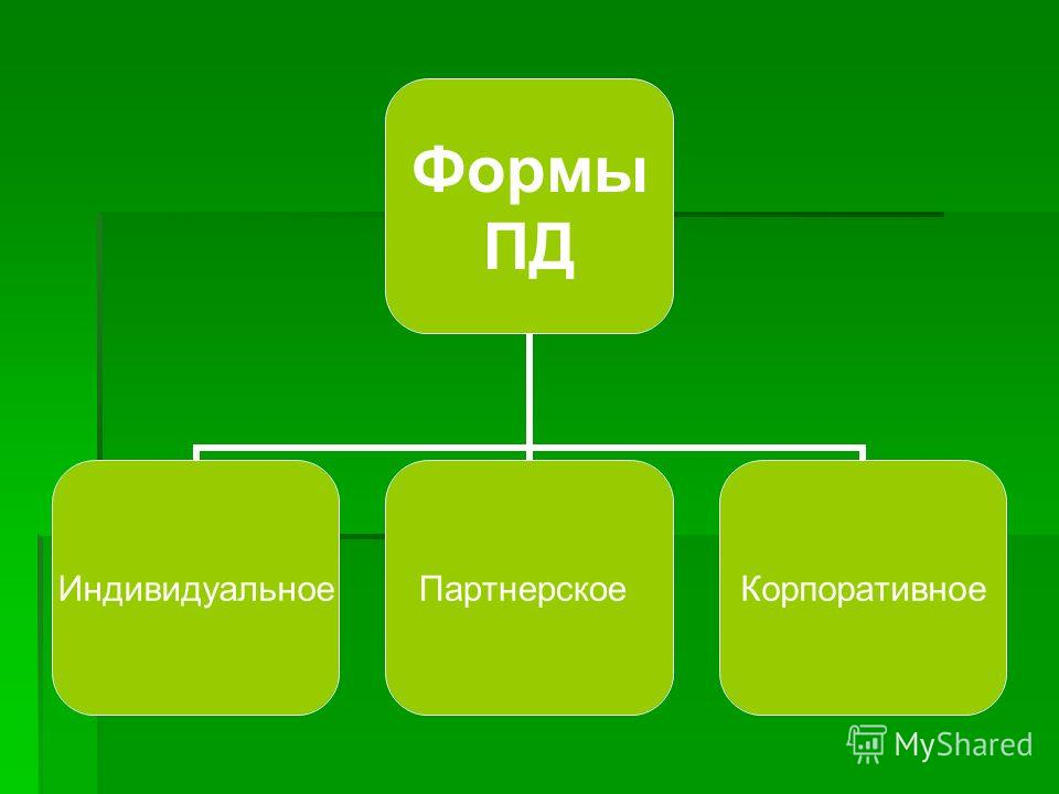 Формы ПД Индивидуальное ПартнерскоеКорпоративное