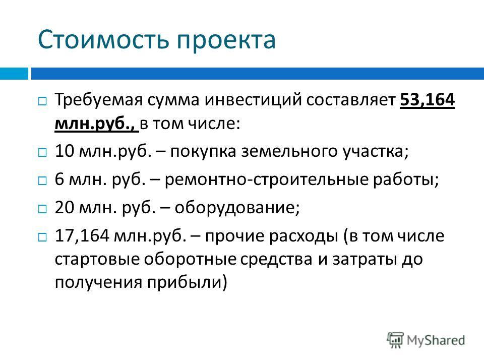 Стоимость проекта Требуемая сумма инвестиций составляет 53,164 млн. руб., в том числе : 10 млн. руб. – покупка земельного участка ; 6 млн. руб. – ремонтно - строительные работы ; 20 млн. руб. – оборудование ; 17,164 млн. руб. – прочие расходы ( в том