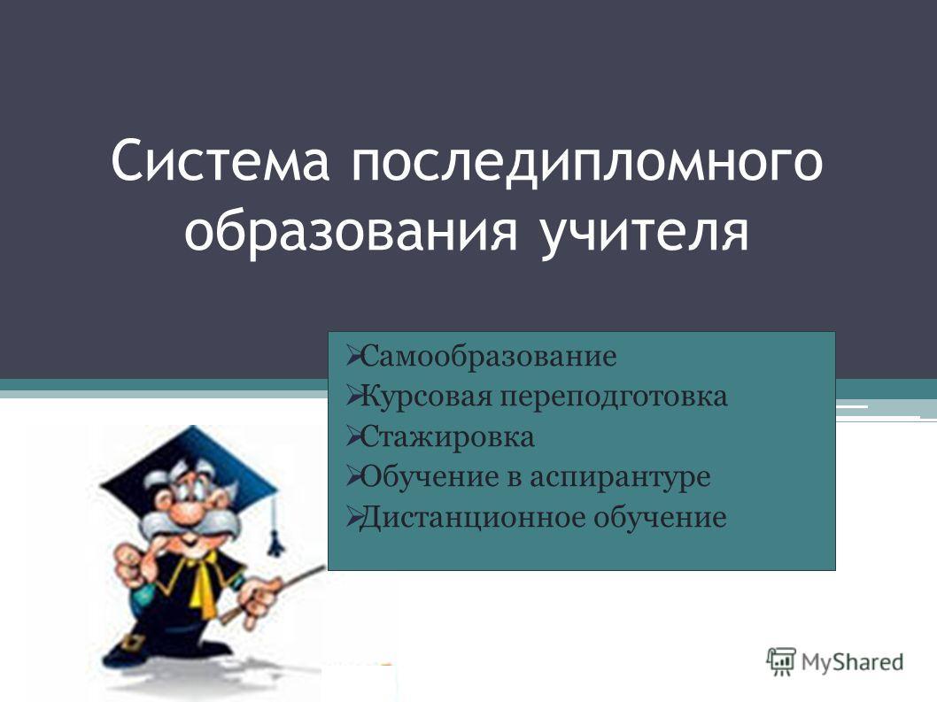 Система последипломного образования учителя Самообразование Курсовая переподготовка Стажировка Обучение в аспирантуре Дистанционное обучение