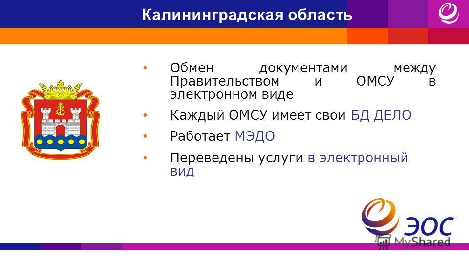 Калининградская область Обмен документами между Правительством и ОМСУ в электронном виде Каждый ОМСУ имеет свои БД ДЕЛО Работает МЭДО Переведены услуги в электронный вид