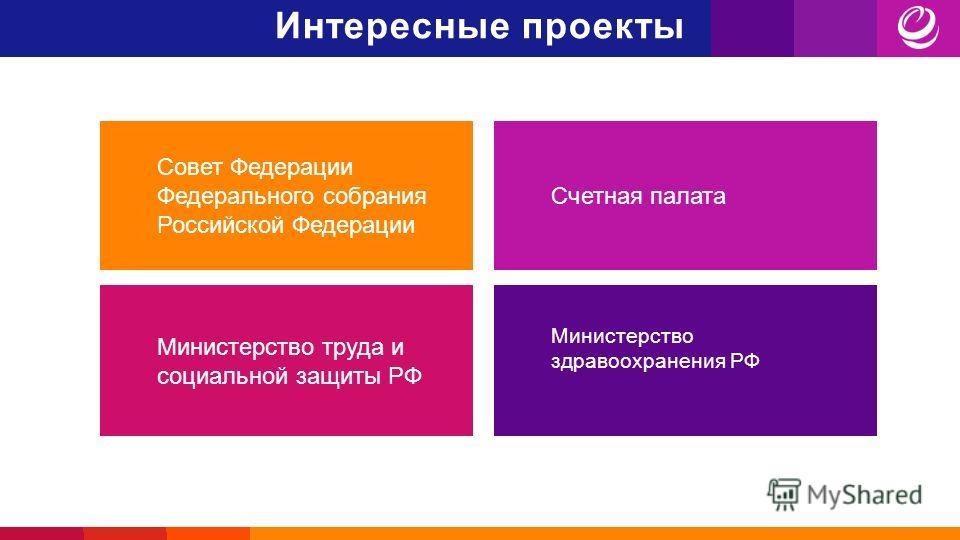 Интересные проекты Совет Федерации Федерального собрания Российской Федерации Счетная палата Министерство труда и социальной защиты РФ Министерство здравоохранения РФ