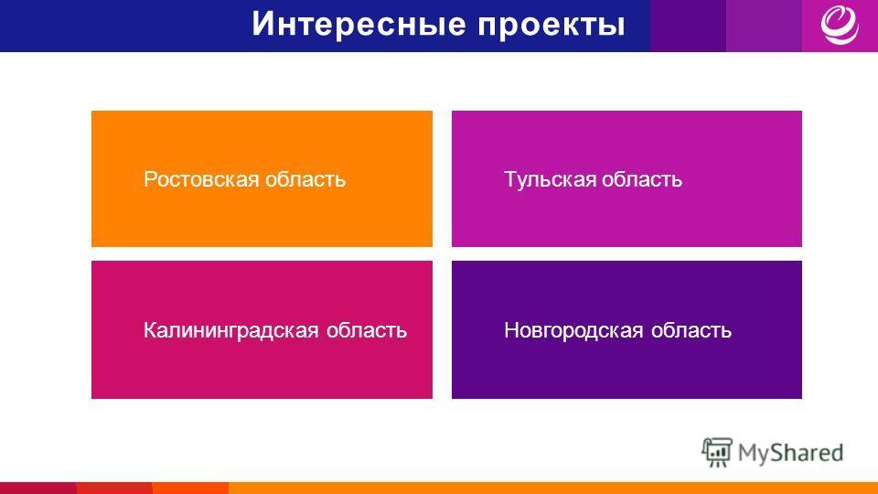 Интересные проекты Тульская область Калининградская область Новгородская область Ростовская область