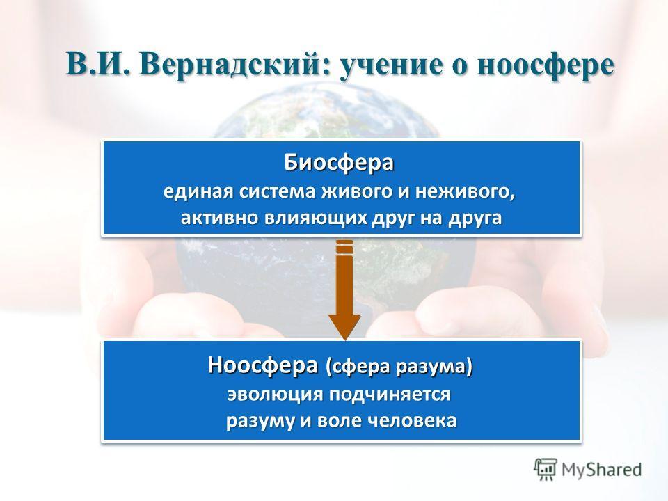 В.И. Вернадский: учение о ноосфере Биосфера единая система живого и неживого, активно влияющих друг на друга Ноосфера (сфера разума) эволюция подчиняется разуму и воле человека