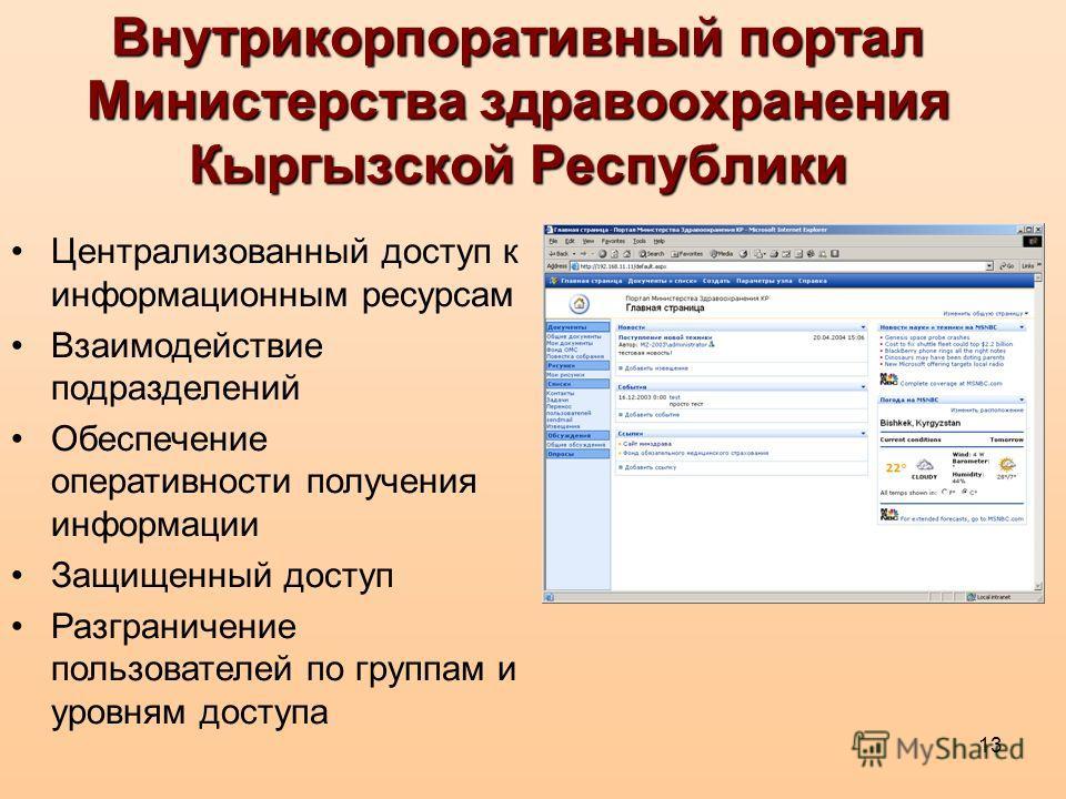 13 Внутрикорпоративный портал Министерства здравоохранения Кыргызской Республики Централизованный доступ к информационным ресурсам Взаимодействие подразделений Обеспечение оперативности получения информации Защищенный доступ Разграничение пользовател