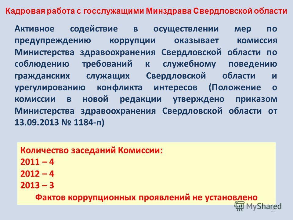 15 Активное содействие в осуществлении мер по предупреждению коррупции оказывает комиссия Министерства здравоохранения Свердловской области по соблюдению требований к служебному поведению гражданских служащих Свердловской области и урегулированию кон