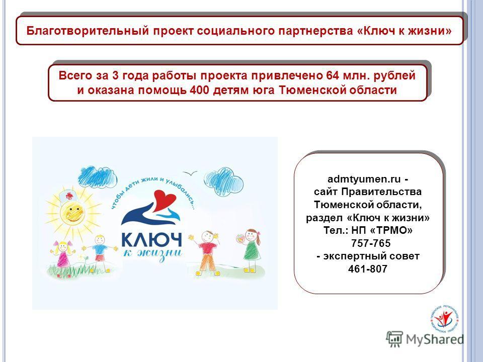 Благотворительный проект социального партнерства «Ключ к жизни» admtyumen.ru - сайт Правительства Тюменской области, раздел «Ключ к жизни» Тел.: НП «ТРМО» 757-765 - экспертный совет 461-807 admtyumen.ru - сайт Правительства Тюменской области, раздел