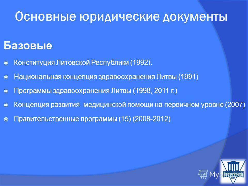 Основные юридические документы Базовые Конституция Литовской Республики (1992). Национальная концепция здравоохранения Литвы (1991) Программы здравоохранения Литвы (1998, 2011 г.) Концепция развития медицинской помощи на первичном уровне (2007) Прави