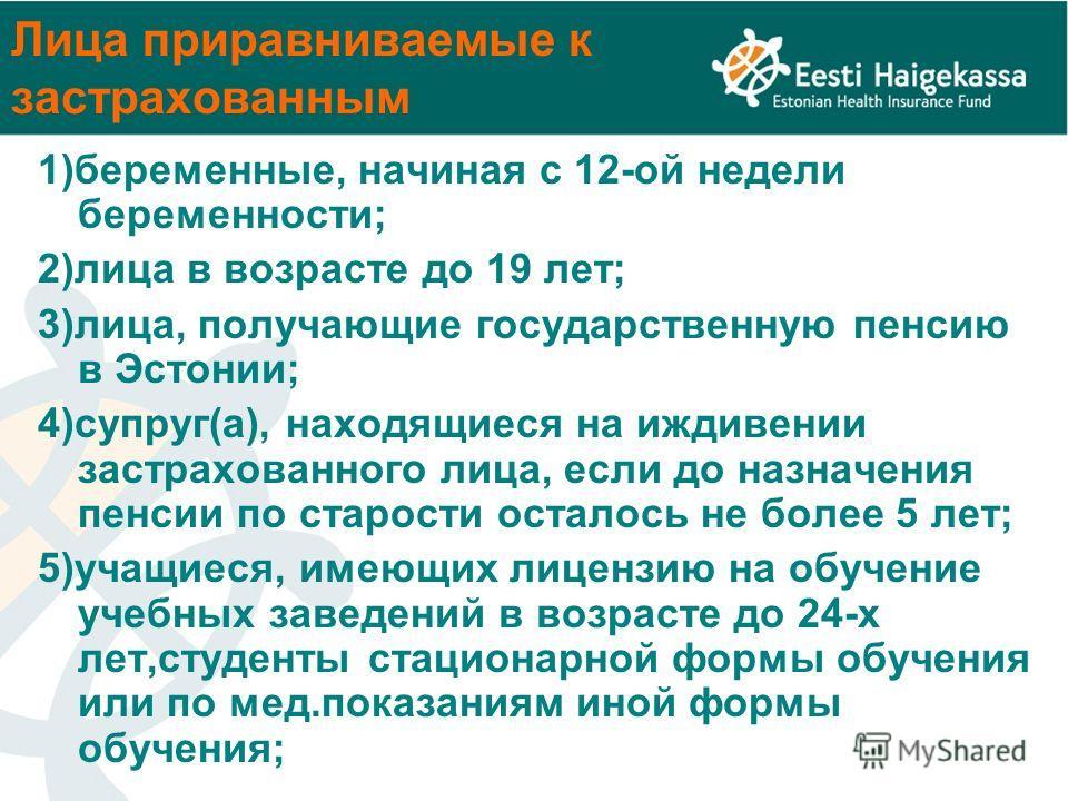 Лица приравниваемые к застрахованным 1)беременные, начиная с 12-ой недели беременности; 2)лица в возрасте до 19 лет; 3)лица, получающие государственную пенсию в Эстонии; 4)супруг(а), находящиеся на иждивении застрахованного лица, если до назначения п