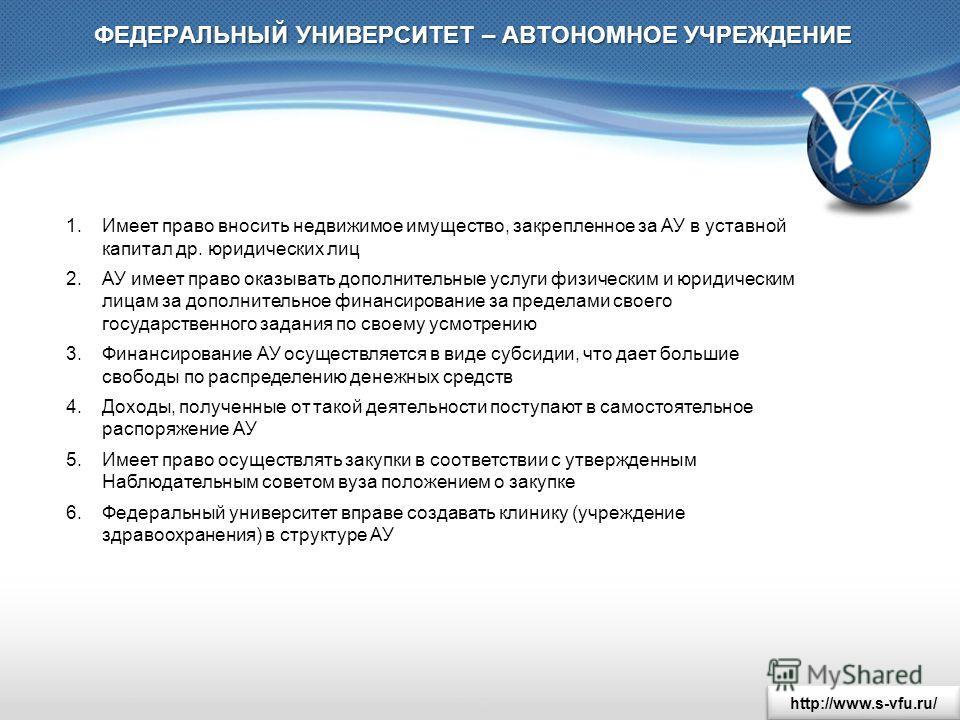 http://www.s-vfu.ru/ ФЕДЕРАЛЬНЫЙ УНИВЕРСИТЕТ – АВТОНОМНОЕ УЧРЕЖДЕНИЕ 1. Имеет право вносить недвижимое имущество, закрепленное за АУ в уставной капитал др. юридических лиц 2. АУ имеет право оказывать дополнительные услуги физическим и юридическим лиц
