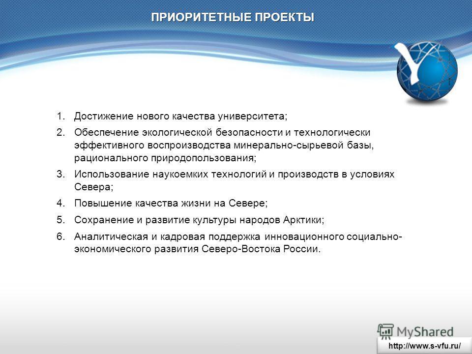http://www.s-vfu.ru/ ПРИОРИТЕТНЫЕ ПРОЕКТЫ 1. Достижение нового качества университета; 2. Обеспечение экологической безопасности и технологически эффективного воспроизводства минерально-сырьевой базы, рационального природопользования; 3. Использование