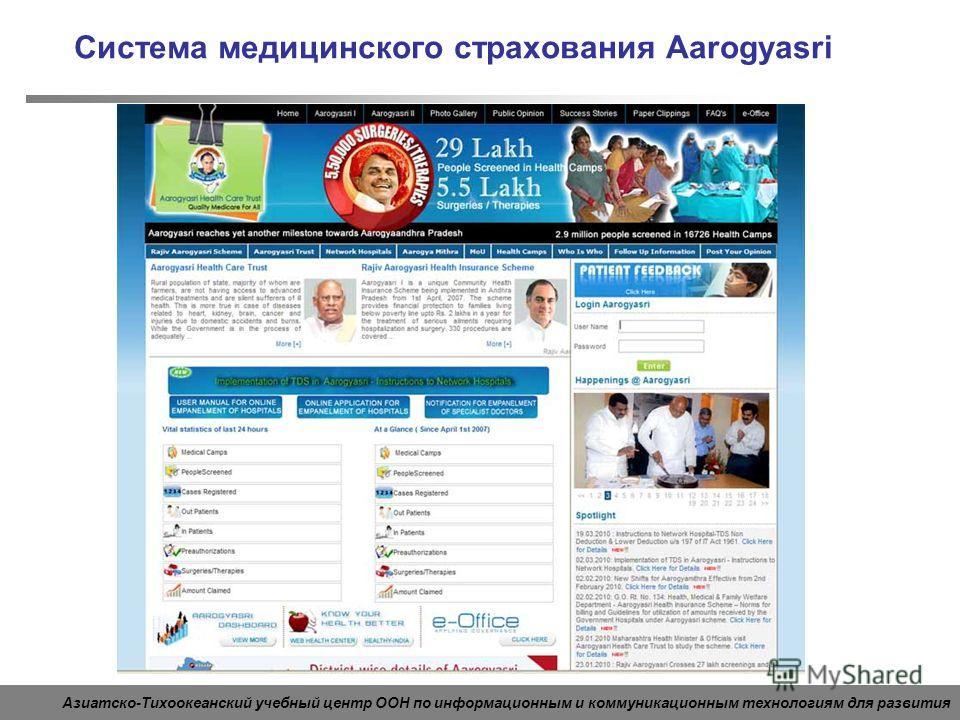 Азиатско-Тихоокеанский учебный центр ООН по информационным и коммуникационным технологиям для развития Система медицинского страхования Aarogyasri