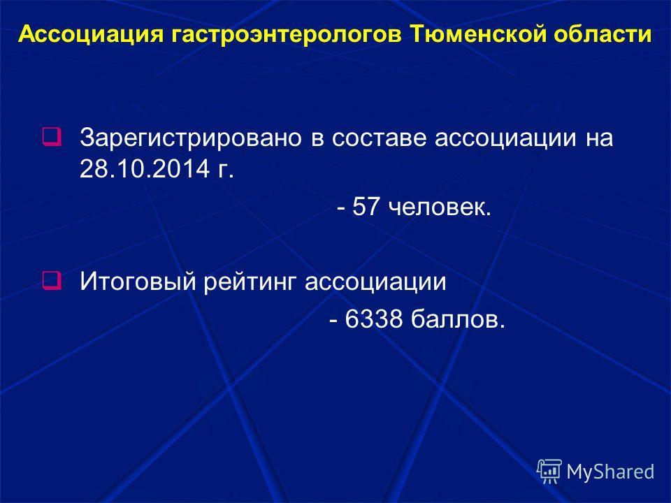Ассоциация гастроэнтерологов Тюменской области Зарегистрировано в составе ассоциации на 28.10.2014 г. - 57 человек. Итоговый рейтинг ассоциации - 6338 баллов.