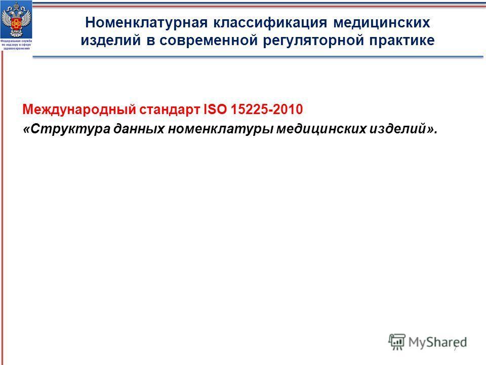 Международный стандарт ISO 15225-2010 «Структура данных номенклатуры медицинских изделий». Номенклатурная классификация медицинских изделий в современной регуляторной практике 7