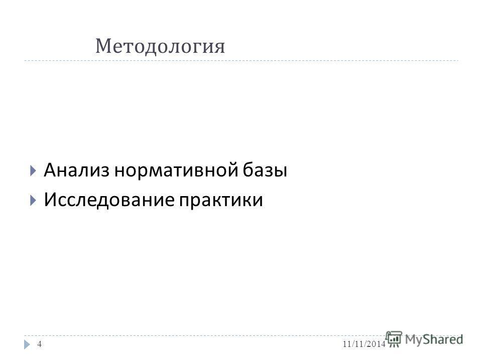 Методология 11/11/20144 Анализ нормативной базы Исследование практики
