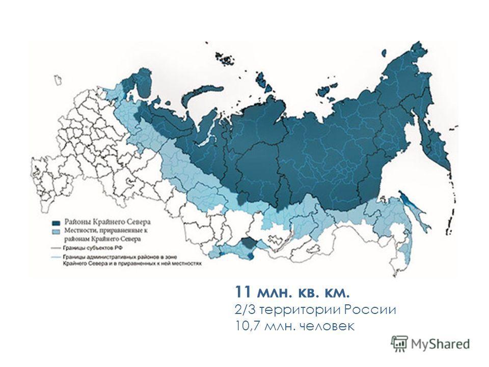 11 млн. кв. км. 2/3 территории России 10,7 млн. человек