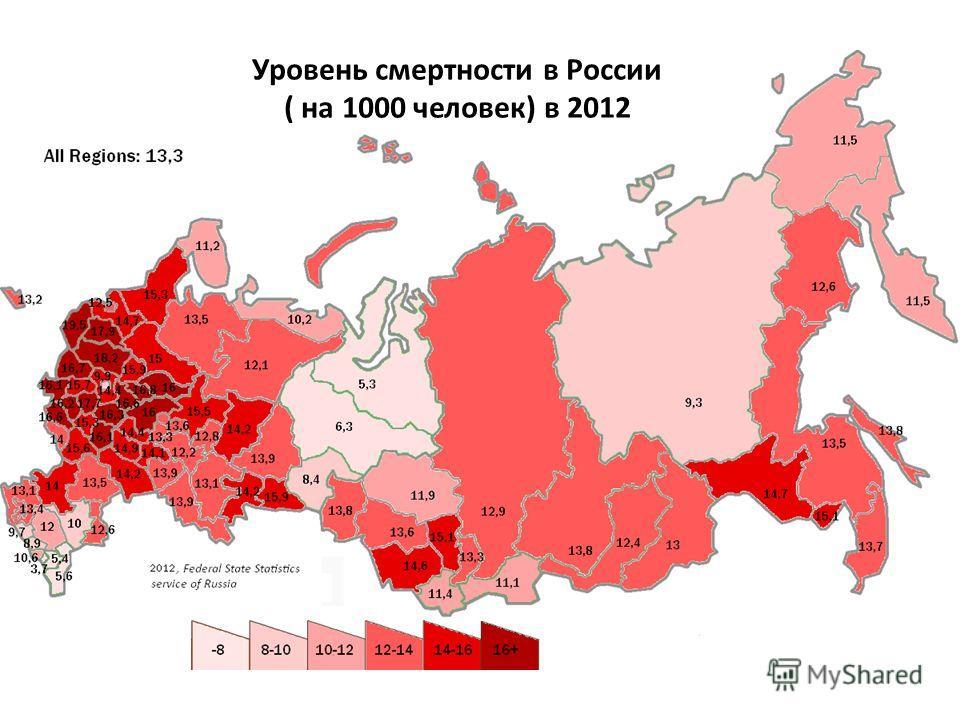 Уровень смертности в России ( на 1000 человек) в 2012