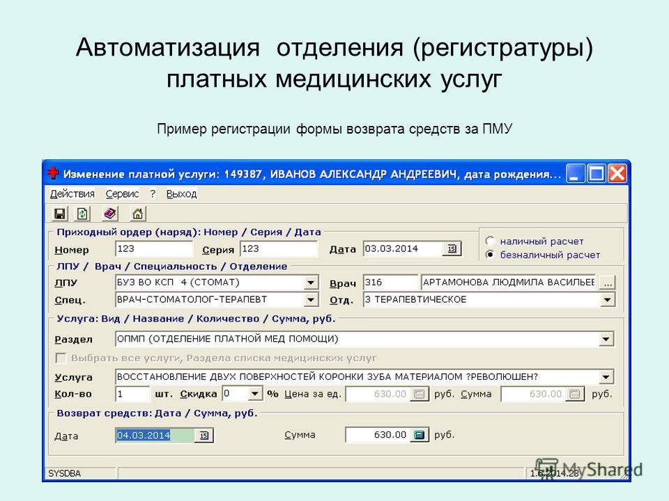 Автоматизация отделения (регистратуры) платных медицинских услуг Пример регистрации формы возврата средств за ПМУ