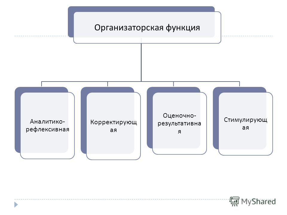 Организаторская функция Аналитико - рефлексивная Корректирующ ая Оценочно - результативна я Стимулирующ ая